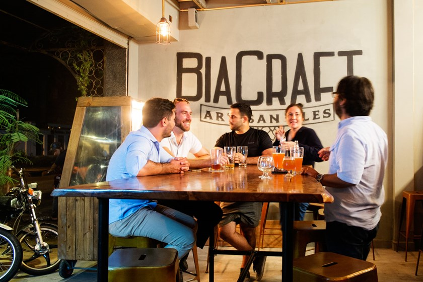A soft opening for Bia Craft was held on Friday, August 7, 2015 in Ho Chi Minh City's Thao Dien Ward. The crowd included a local chocolate maker, a few English teachers and a number of nascent brewers. Photo: Calvin Godfrey