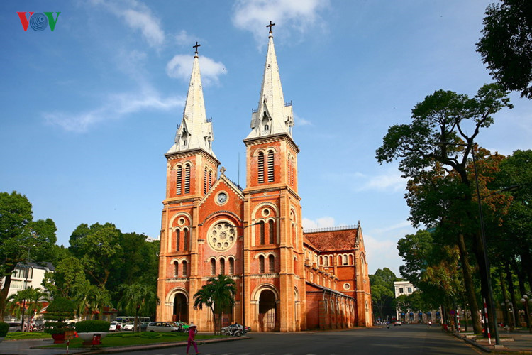 Saigon Notre-Dame Basilica was constructed in 1877 and completed in 1880.  It has two bell towers, reaching a height of 58 meters (190 feet).